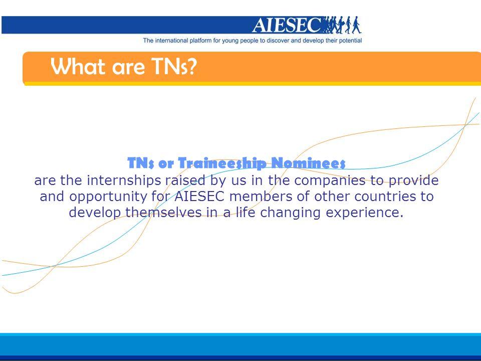 Haga clic para modificar el estilo de texto del patrón Segundo nivel Tercer nivel Cuarto nivel Quinto nivel 13 AIESEC in Spain Induction 07/08 What are TNs.