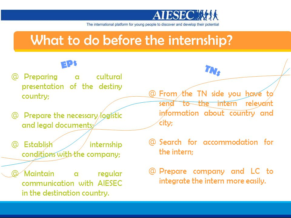 Haga clic para modificar el estilo de texto del patrón Segundo nivel Tercer nivel Cuarto nivel Quinto nivel 19 AIESEC in Spain Induction 07/08 What to do before the internship.