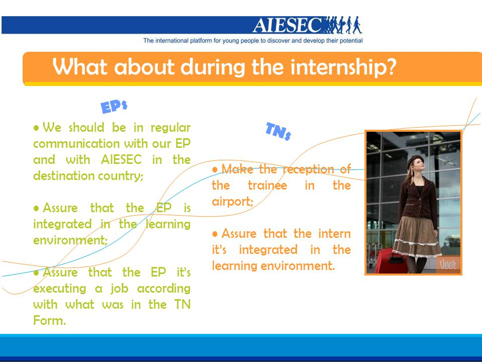 Haga clic para modificar el estilo de texto del patrón Segundo nivel Tercer nivel Cuarto nivel Quinto nivel 20 AIESEC in Spain Induction 07/08 Make the reception of the trainee in the airport; Assure that the intern it's integrated in the learning environment.