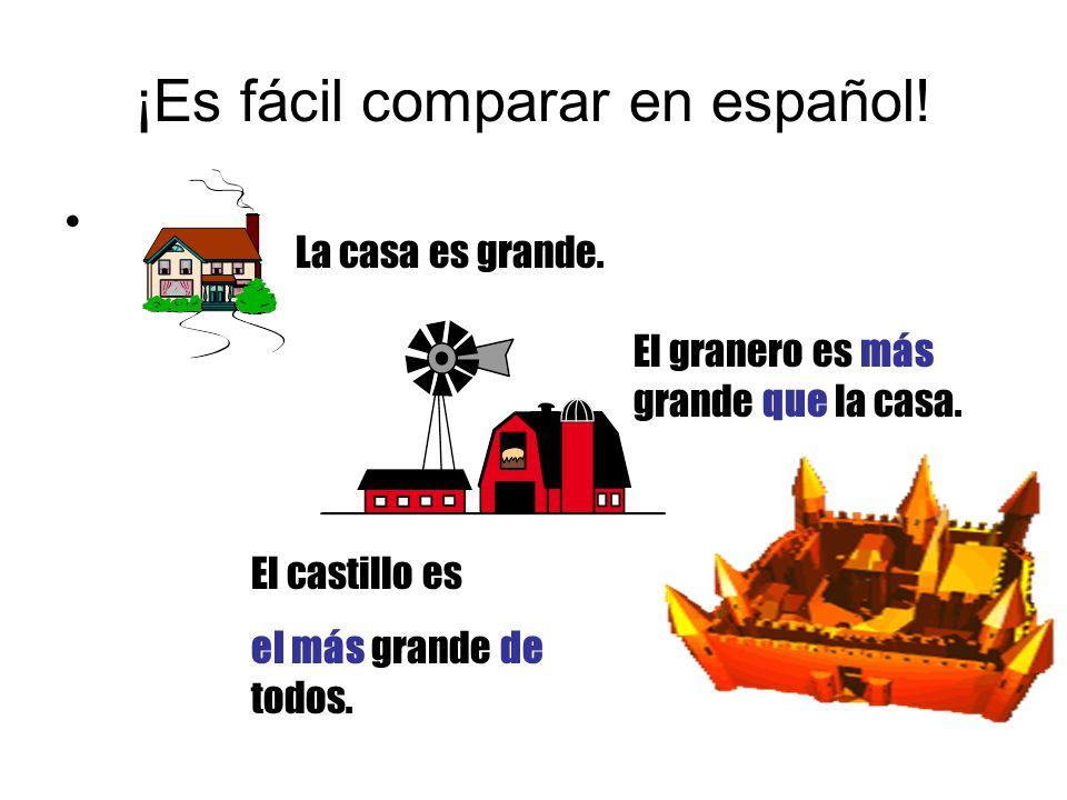 ¡Es fácil comparar en español. La casa es grande.
