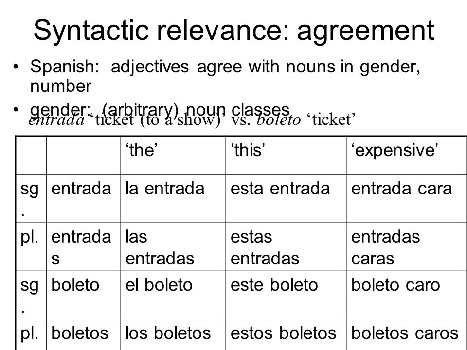 Syntactic relevance: agreement Spanish: adjectives agree with nouns in gender, number gender: (arbitrary) noun classes entrada 'ticket (to a show)' vs.