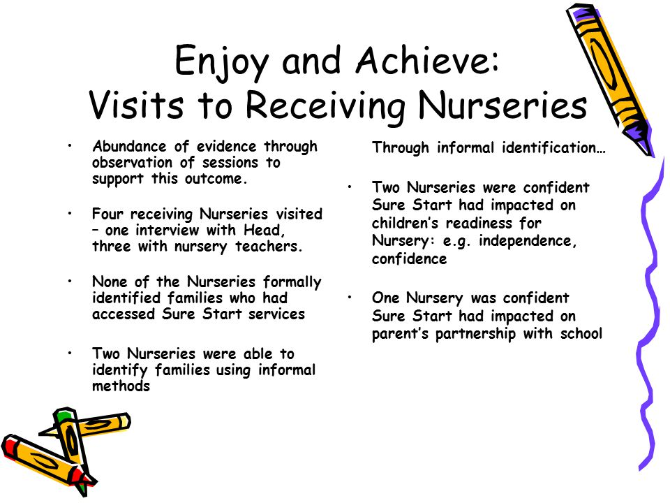 Enjoy and Achieve: Visits to Receiving Nurseries Abundance of evidence through observation of sessions to support this outcome.