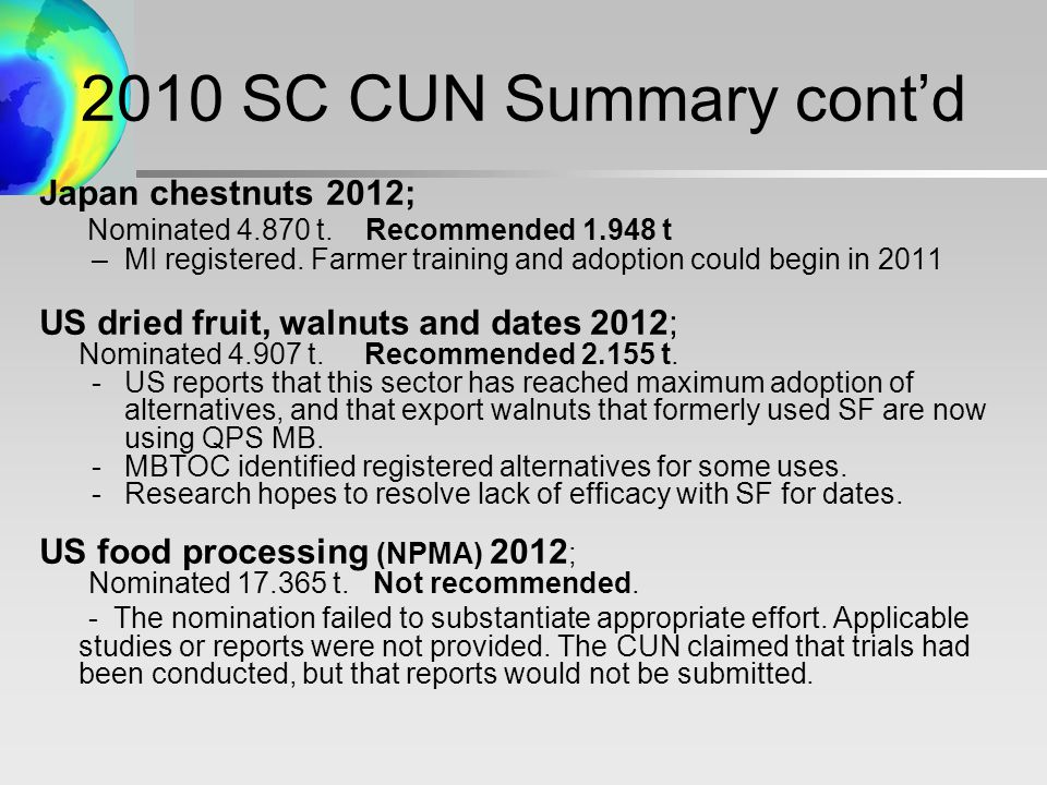2010 SC CUN Summary cont'd Japan chestnuts 2012; Nominated t.