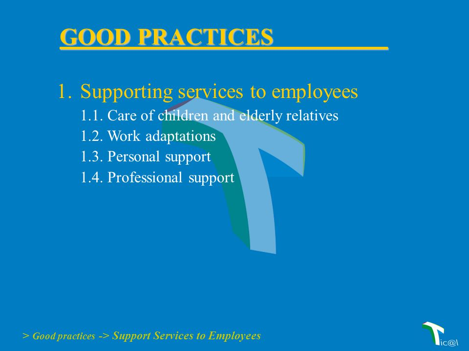 1.Supporting services to employees 1.1. Care of children and elderly relatives 1.2.