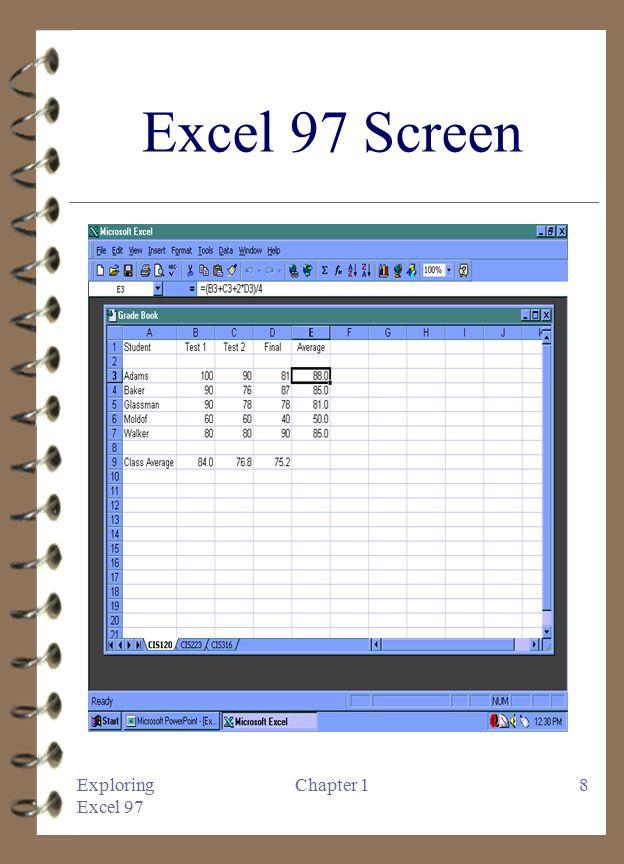 Exploring microsoft excel 97 chapter 1 introduction to microsoft 8 exploring excel 97 chapter 18 excel 97 screen altavistaventures Gallery