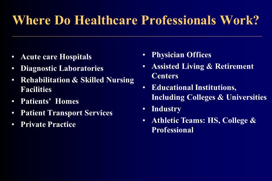 Where Do Healthcare Professionals Work.