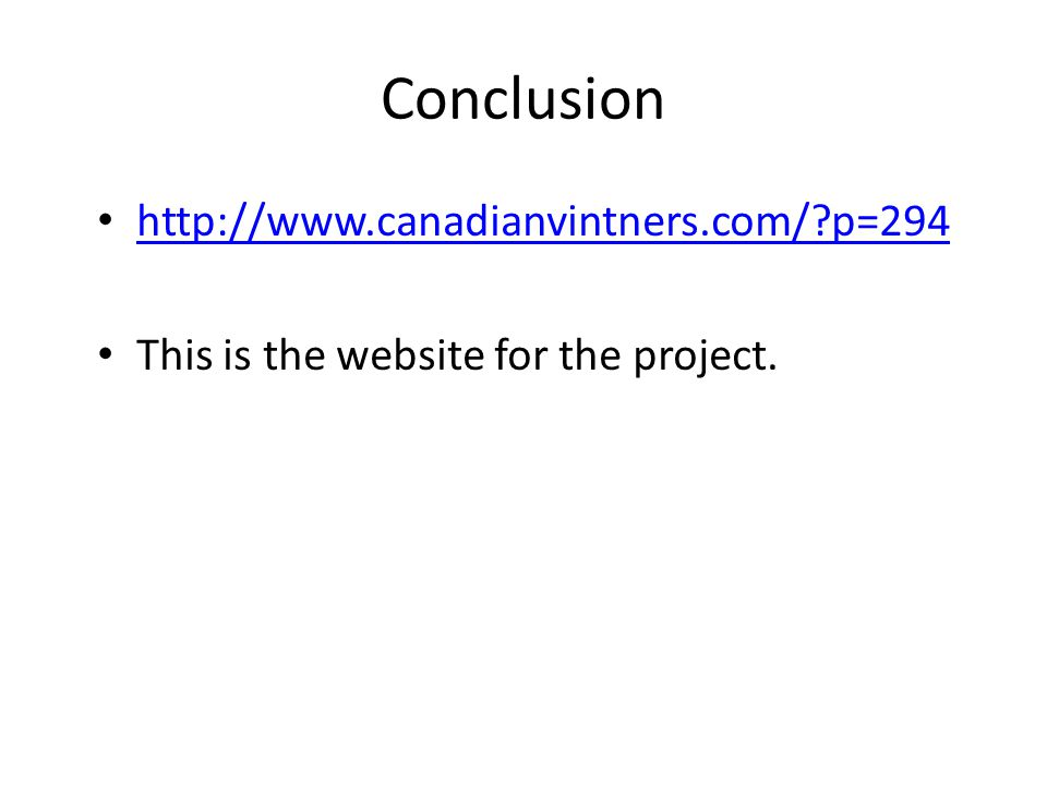 Conclusion   p=294 This is the website for the project.