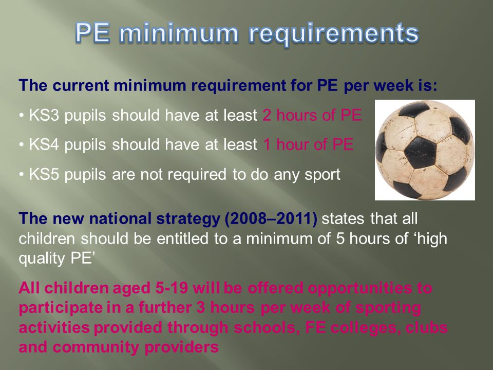 The current minimum requirement for PE per week is: KS3 pupils should have at least 2 hours of PE KS4 pupils should have at least 1 hour of PE KS5 pupils are not required to do any sport The new national strategy (2008–2011) states that all children should be entitled to a minimum of 5 hours of 'high quality PE' All children aged 5-19 will be offered opportunities to participate in a further 3 hours per week of sporting activities provided through schools, FE colleges, clubs and community providers