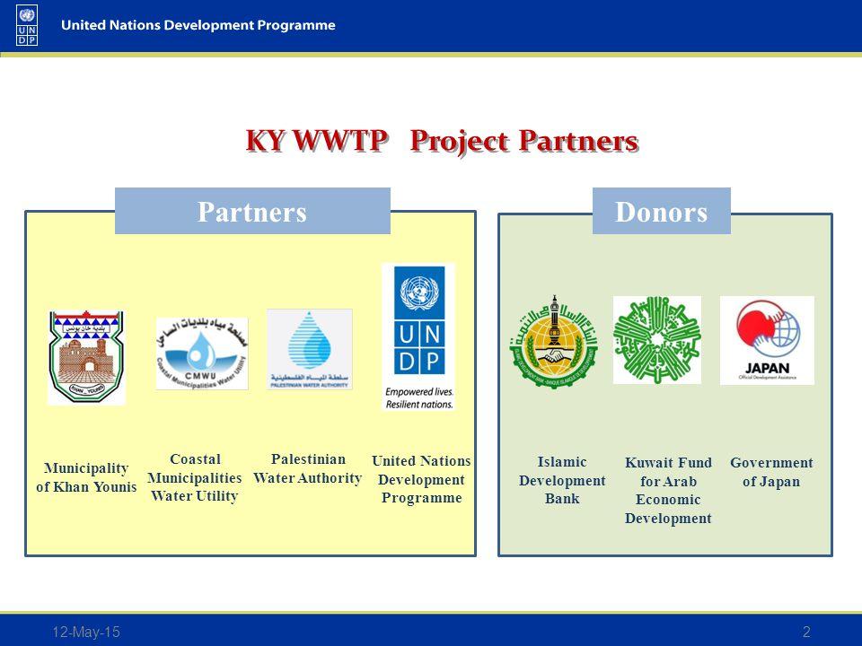 KY WWTP Project Partners 12-May-152 Kuwait Fund for Arab Economic Development Islamic Development Bank Government of Japan United Nations Development Programme Palestinian Water Authority Coastal Municipalities Water Utility Municipality of Khan Younis PartnersDonors