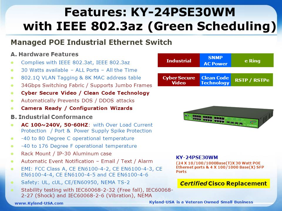 Kyland-USA is a Veteran Owned Small Business   Features: KY-24PSE30WM with IEEE 802.3az (Green Scheduling) Managed POE Industrial Ethernet Switch A.
