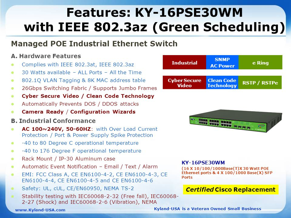 Kyland-USA is a Veteran Owned Small Business   Features: KY-16PSE30WM with IEEE 802.3az (Green Scheduling) Managed POE Industrial Ethernet Switch A.
