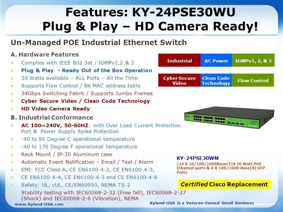 Kyland-USA is a Veteran Owned Small Business   Features: KY-24PSE30WU Plug & Play – HD Camera Ready.