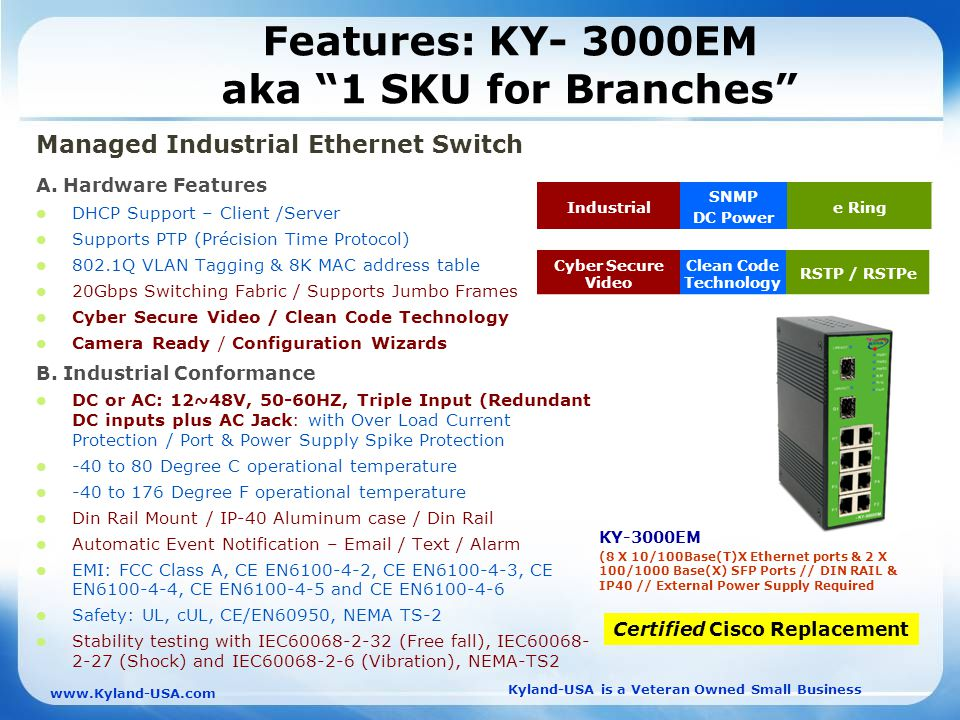 Kyland-USA is a Veteran Owned Small Business   Features: KY- 3000EM aka 1 SKU for Branches Managed Industrial Ethernet Switch A.