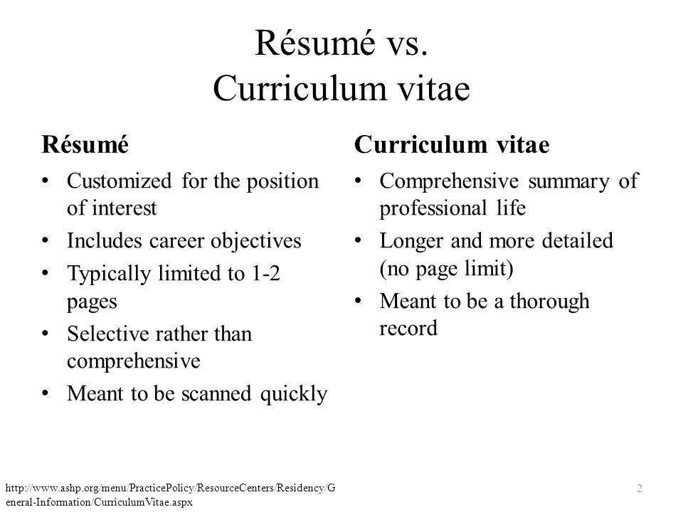 curriculum vitae and résumé writing megan d pendley rph pharmd