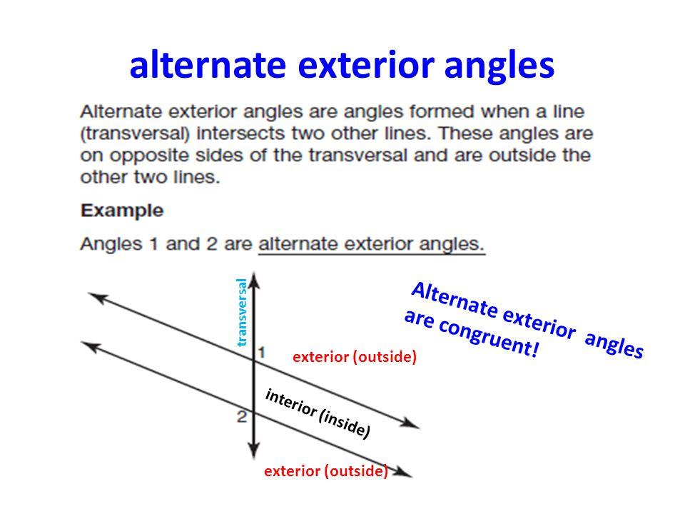 adjacent angles alternate exterior angles transversal interior