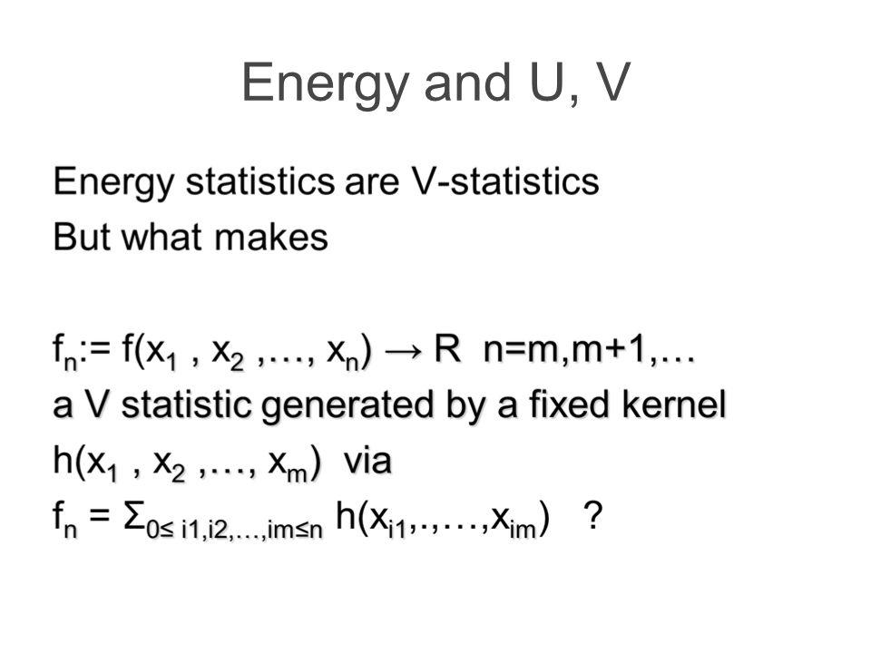 Energy and U, V