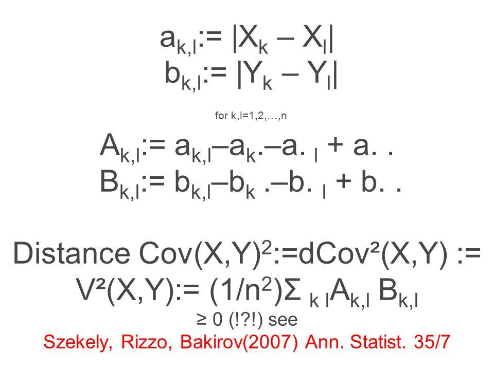 a k,l := |X k – X l | b k,l := |Y k – Y l | for k,l=1,2,…,n A k,l := a k,l –a k.–a.