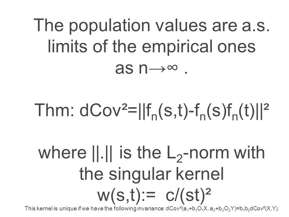 The population values are a.s. limits of the empirical ones as n→∞.