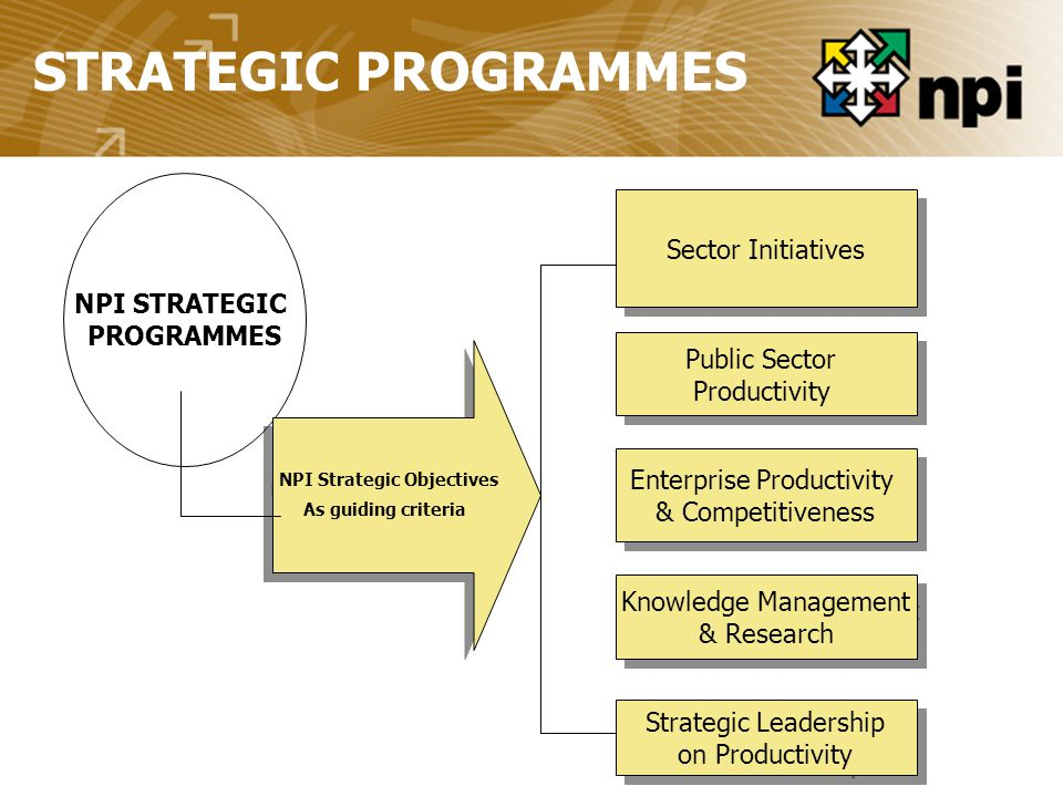 NPI STRATEGIC PROGRAMMES STRATEGIC PROGRAMMES NPI Strategic Objectives As guiding criteria NPI Strategic Objectives As guiding criteria Sector Initiatives Public Sector Productivity Public Sector Productivity Enterprise Productivity & Competitiveness Enterprise Productivity & Competitiveness Knowledge Management & Research Knowledge Management & Research Strategic Leadership on Productivity Strategic Leadership on Productivity