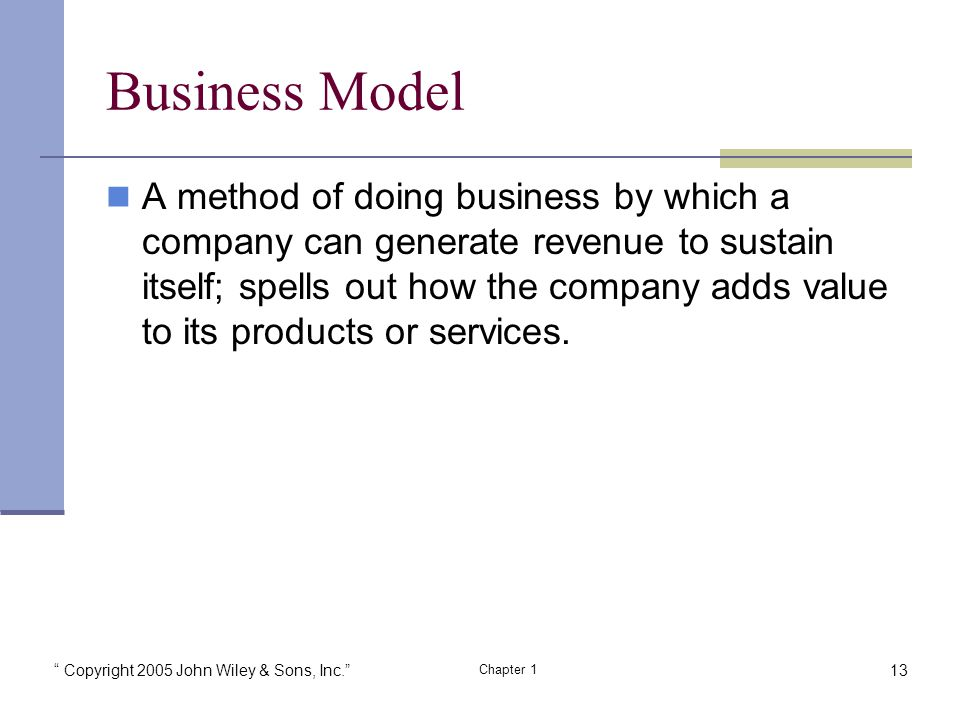 Copyright 2005 John Wiley & Sons, Inc. Chapter 1 Business Model A method of doing business by which a company can generate revenue to sustain itself; spells out how the company adds value to its products or services.