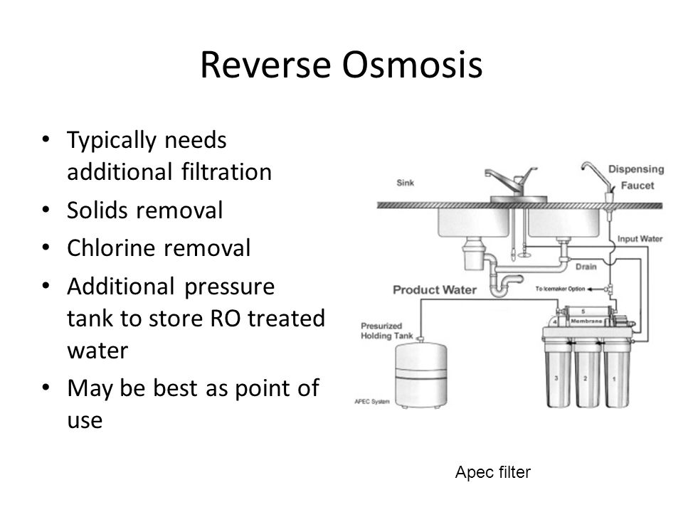 Reverse Osmosis Typically needs additional filtration Solids removal Chlorine removal Additional pressure tank to store RO treated water May be best as point of use Apec filter