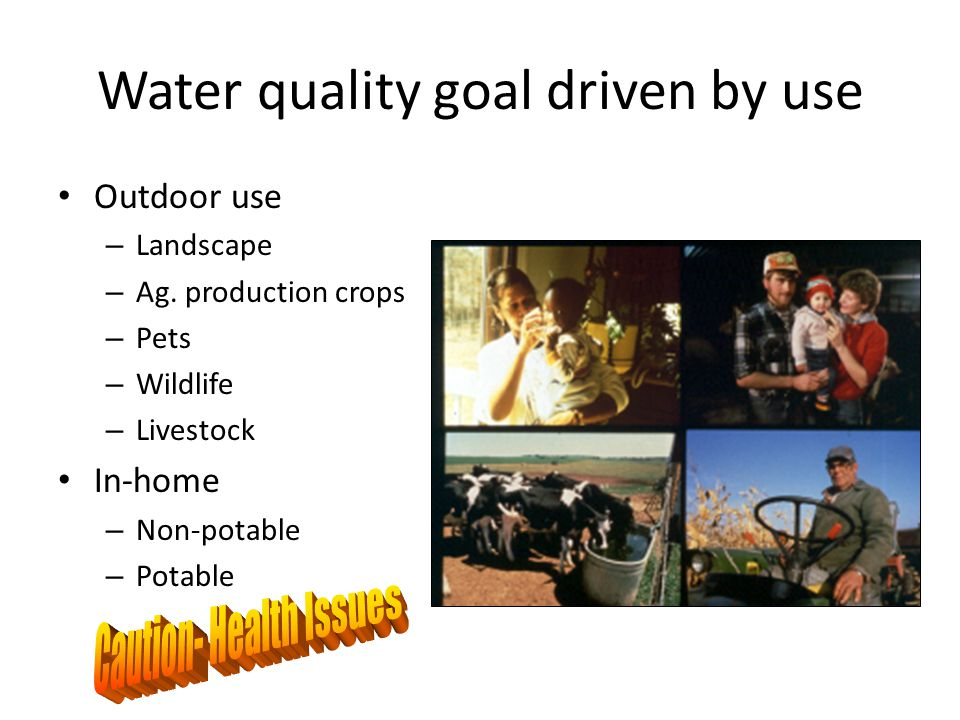 Water quality goal driven by use Outdoor use – Landscape – Ag.
