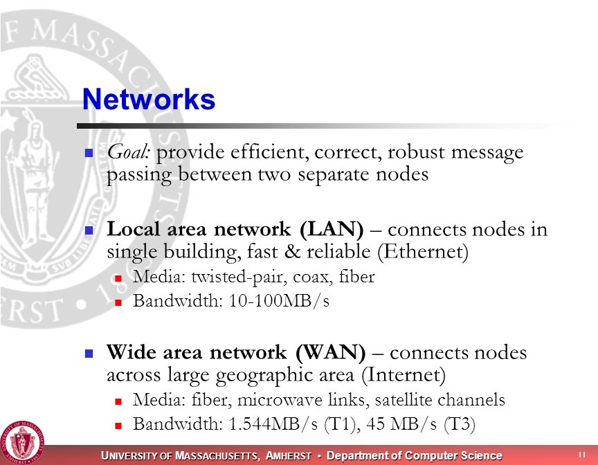 U NIVERSITY OF M ASSACHUSETTS, A MHERST Department of Computer Science 11 Networks Goal: provide efficient, correct, robust message passing between two separate nodes Local area network (LAN) – connects nodes in single building, fast & reliable (Ethernet) Media: twisted-pair, coax, fiber Bandwidth: MB/s Wide area network (WAN) – connects nodes across large geographic area (Internet) Media: fiber, microwave links, satellite channels Bandwidth: 1.544MB/s (T1), 45 MB/s (T3)