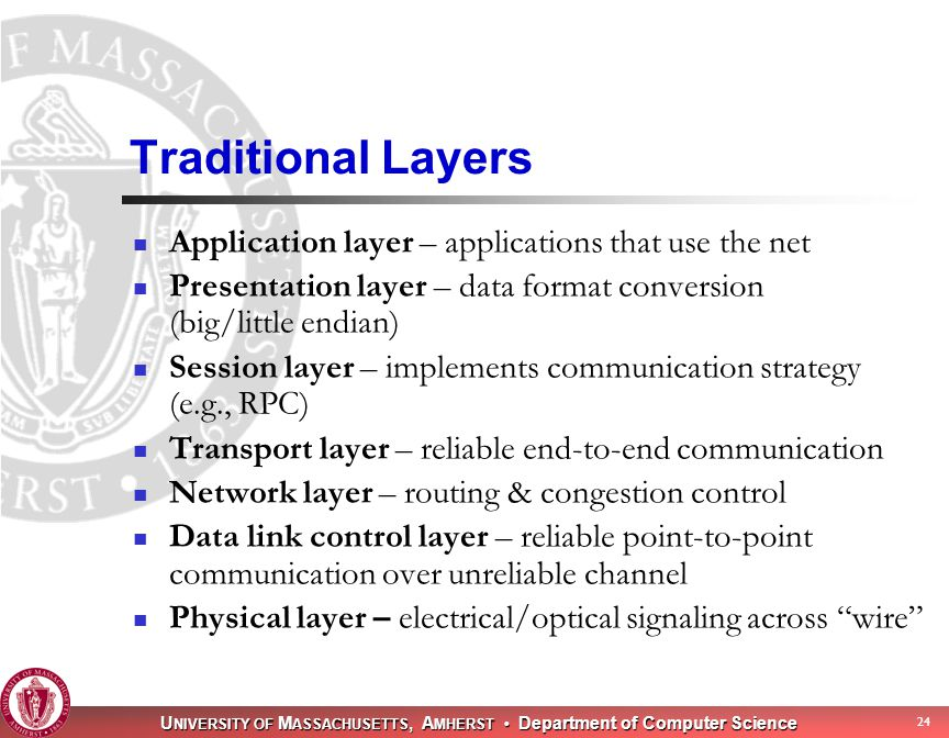 U NIVERSITY OF M ASSACHUSETTS, A MHERST Department of Computer Science 24 Traditional Layers Application layer – applications that use the net Presentation layer – data format conversion (big/little endian) Session layer – implements communication strategy (e.g., RPC) Transport layer – reliable end-to-end communication Network layer – routing & congestion control Data link control layer – reliable point-to-point communication over unreliable channel Physical layer – electrical/optical signaling across wire