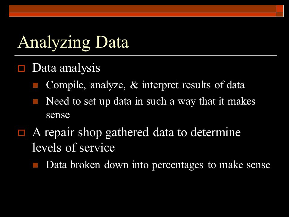Analyzing Data  Data analysis Compile, analyze, & interpret results of data Need to set up data in such a way that it makes sense  A repair shop gathered data to determine levels of service Data broken down into percentages to make sense
