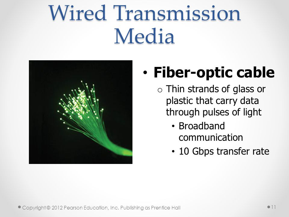 Wired Transmission Media Fiber-optic cable o Thin strands of glass or plastic that carry data through pulses of light Broadband communication 10 Gbps transfer rate Copyright © 2012 Pearson Education, Inc.