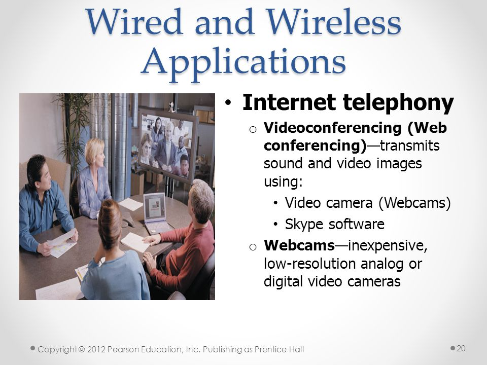 Wired and Wireless Applications Internet telephony o Videoconferencing (Web conferencing)—transmits sound and video images using: Video camera (Webcams) Skype software o Webcams—inexpensive, low-resolution analog or digital video cameras Copyright © 2012 Pearson Education, Inc.