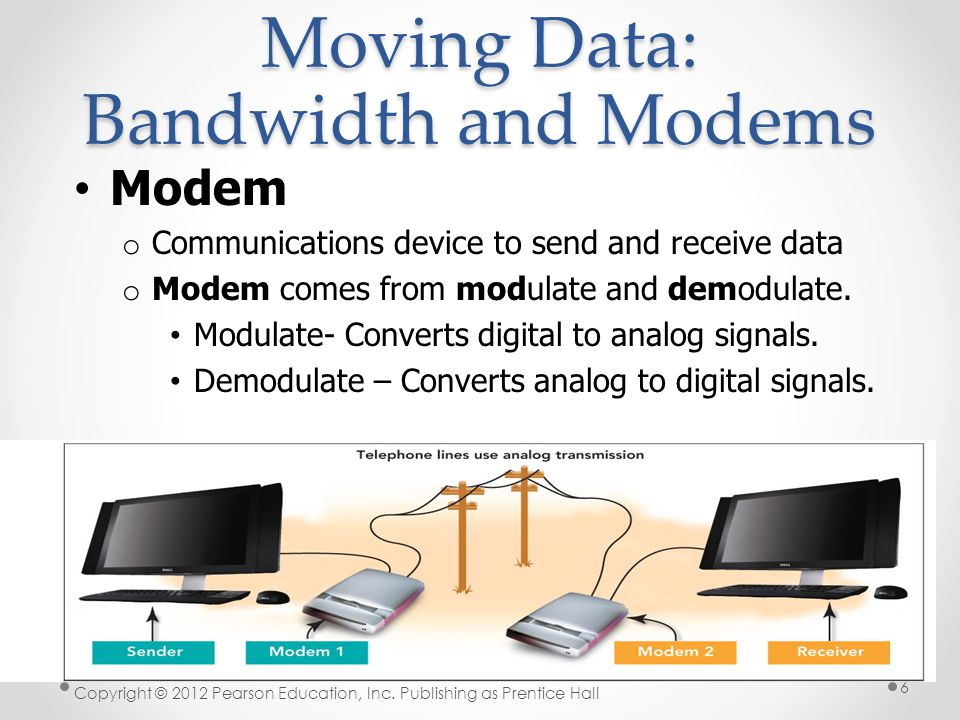 Moving Data: Bandwidth and Modems Modem o Communications device to send and receive data o Modem comes from modulate and demodulate.