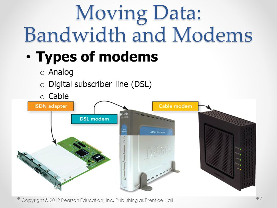 Moving Data: Bandwidth and Modems Types of modems o Analog o Digital subscriber line (DSL) o Cable Copyright © 2012 Pearson Education, Inc.