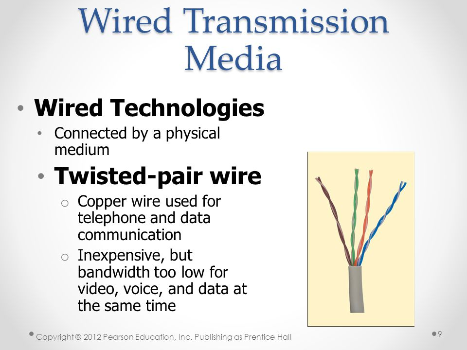 Wired Transmission Media Wired Technologies Connected by a physical medium Twisted-pair wire o Copper wire used for telephone and data communication o Inexpensive, but bandwidth too low for video, voice, and data at the same time Copyright © 2012 Pearson Education, Inc.