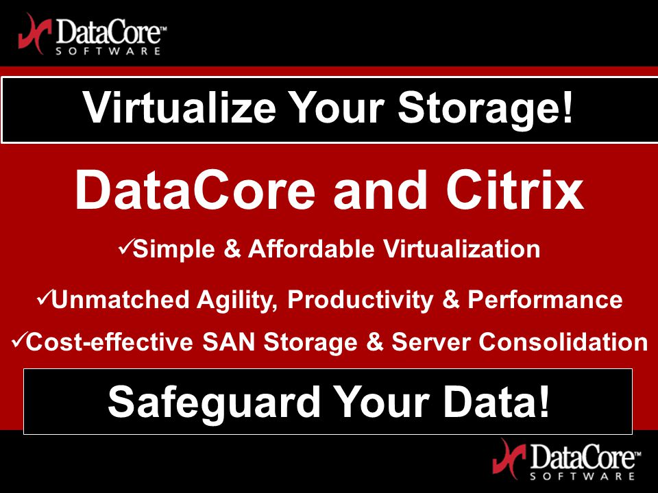 DataCore Software Proprietary Information Virtualize Your Storage.