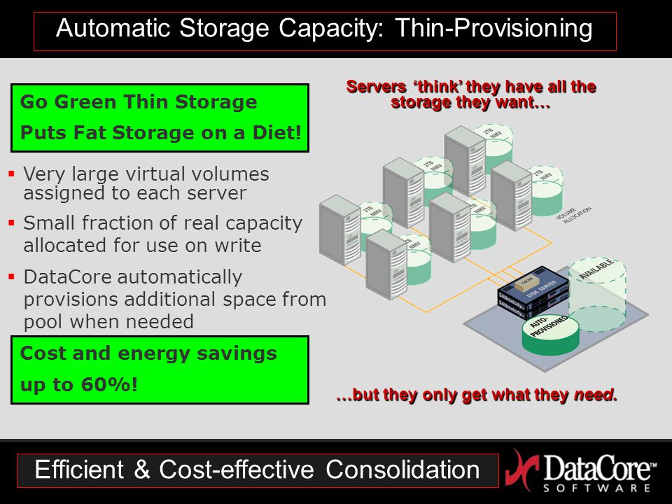 Automatic Storage Capacity: Thin-Provisioning Servers 'think' they have all the storage they want… …but they only get what they need.
