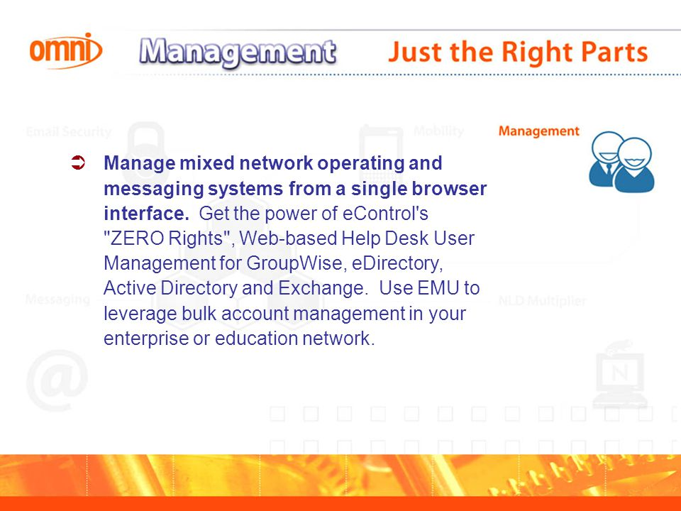  Manage mixed network operating and messaging systems from a single browser interface.