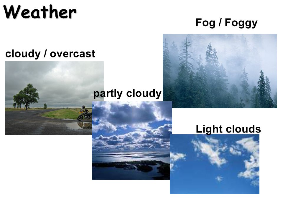 Weather Fog / Foggy cloudy / overcast partly cloudy Light clouds