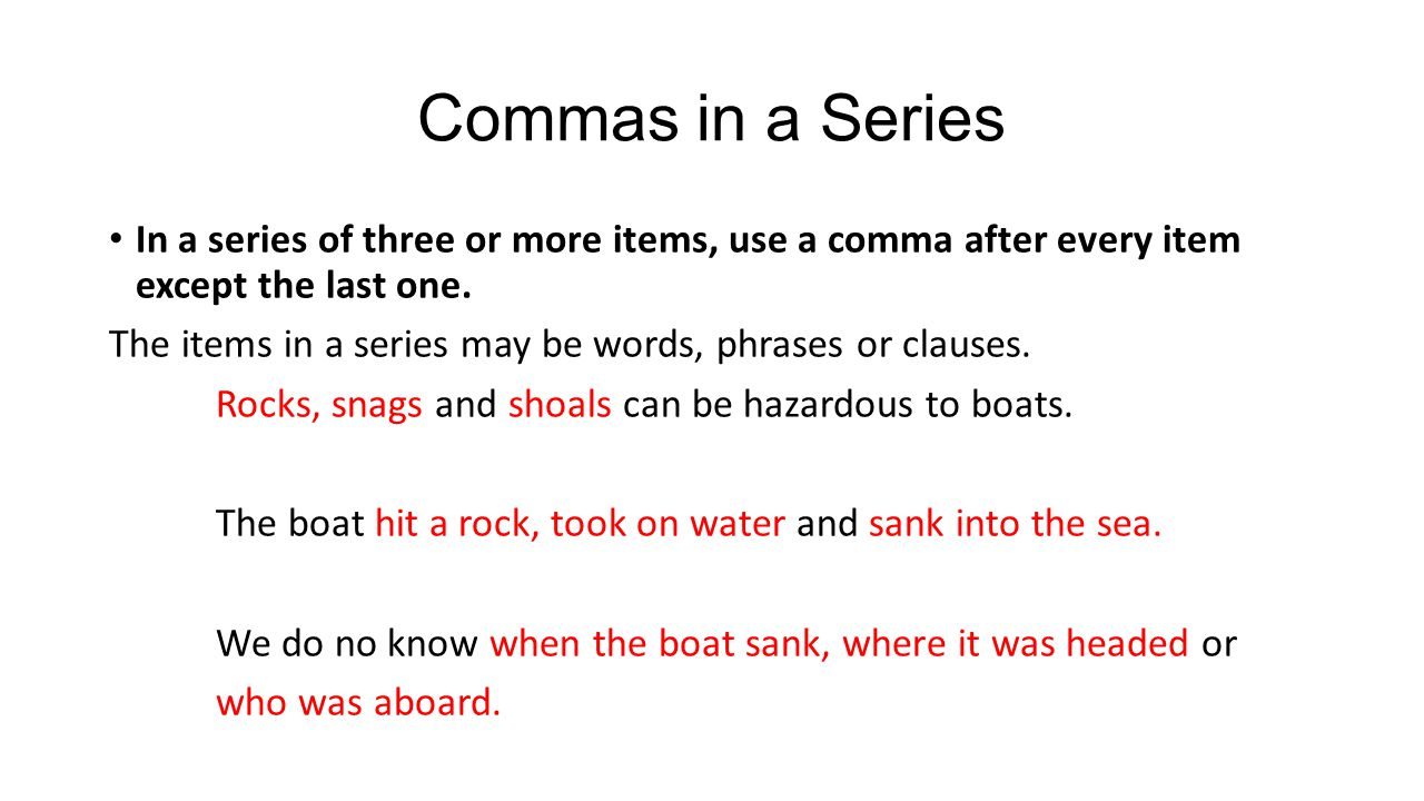 when do i use a comma
