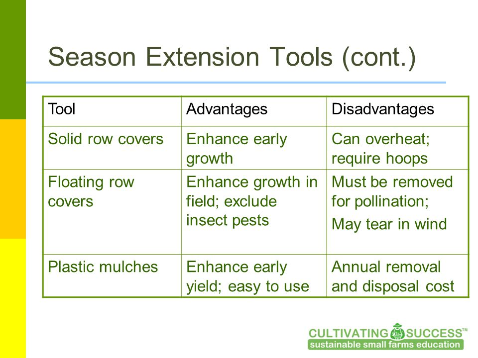 Season Extension Tools (cont.) ToolAdvantagesDisadvantages Solid row coversEnhance early growth Can overheat; require hoops Floating row covers Enhance growth in field; exclude insect pests Must be removed for pollination; May tear in wind Plastic mulchesEnhance early yield; easy to use Annual removal and disposal cost