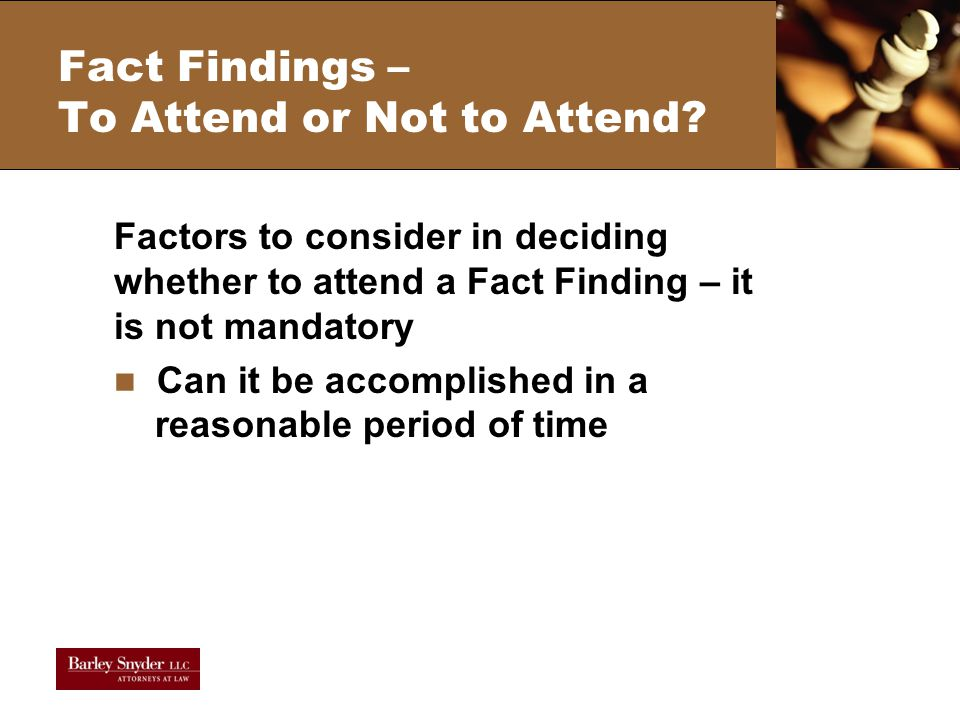 Fact Findings – To Attend or Not to Attend.
