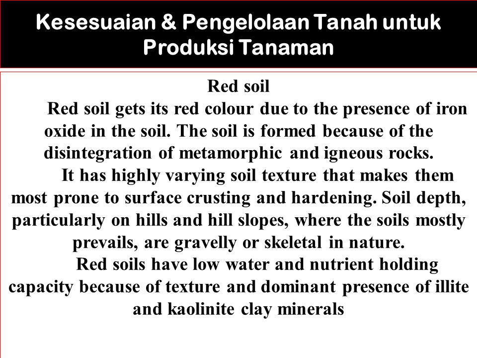 Red soil Red soil gets its red colour due to the presence of iron oxide in the soil.