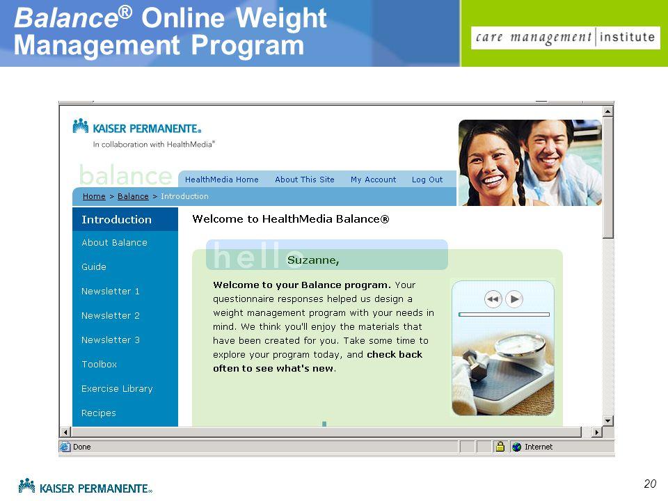 20 Balance ® Online Weight Management Program