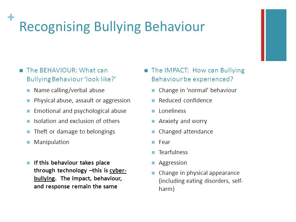 + Recognising Bullying Behaviour The BEHAVIOUR: What can Bullying Behaviour 'look like ' Name calling/verbal abuse Physical abuse, assault or aggression Emotional and psychological abuse Isolation and exclusion of others Theft or damage to belongings Manipulation If this behaviour takes place through technology –this is cyber- bullying.