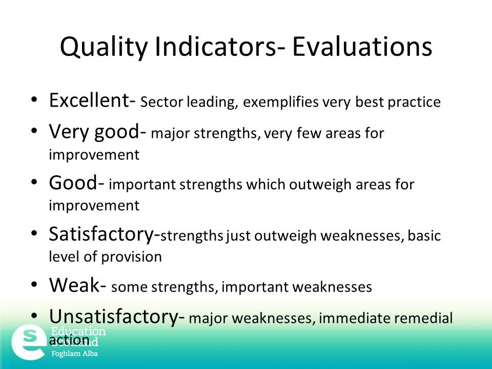 Quality Indicators- Evaluations Excellent- Sector leading, exemplifies very best practice Very good- major strengths, very few areas for improvement Good- important strengths which outweigh areas for improvement Satisfactory- strengths just outweigh weaknesses, basic level of provision Weak- some strengths, important weaknesses Unsatisfactory- major weaknesses, immediate remedial action