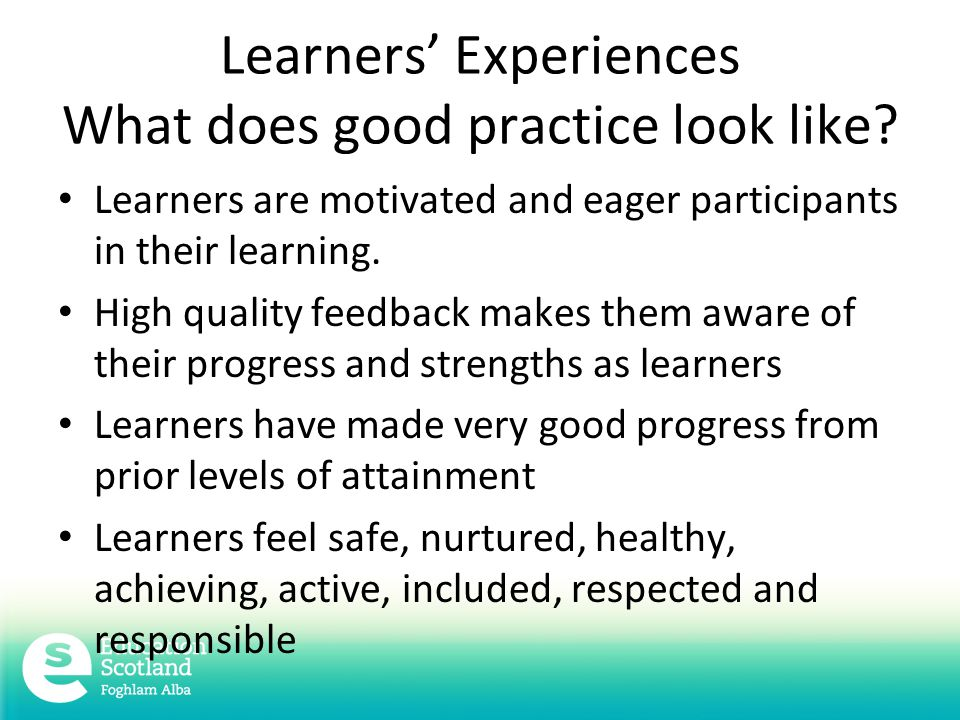 Learners' Experiences What does good practice look like.