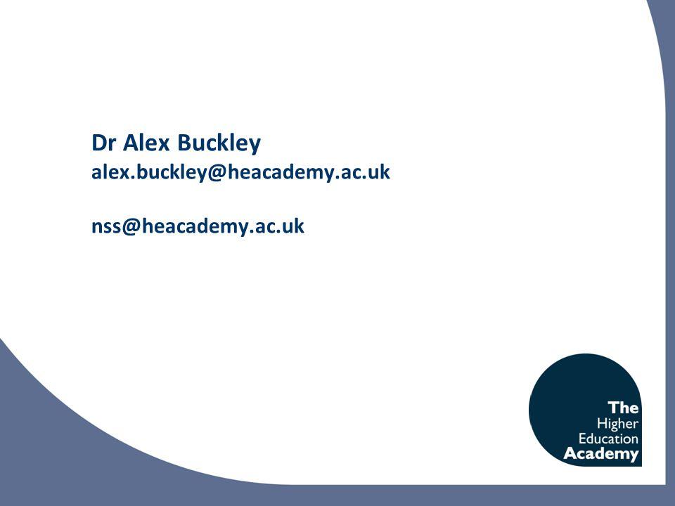 Dr Alex Buckley alex.buckley@heacademy.ac.uk nss@heacademy.ac.uk