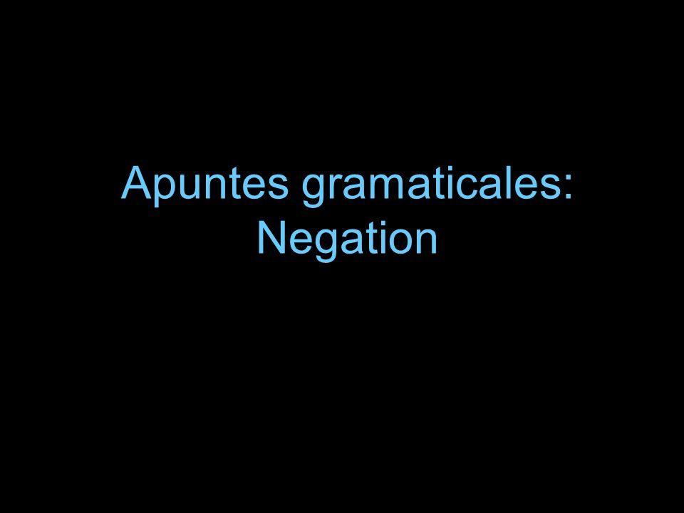 Apuntes gramaticales: Negation