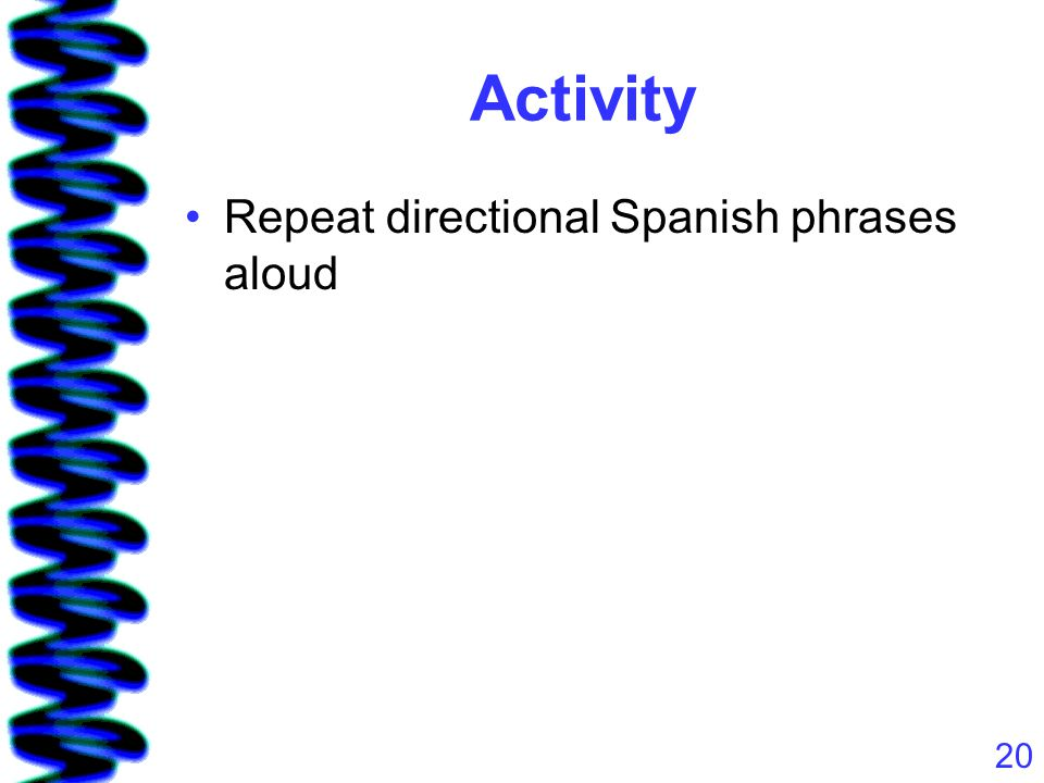 20 Activity Repeat directional Spanish phrases aloud