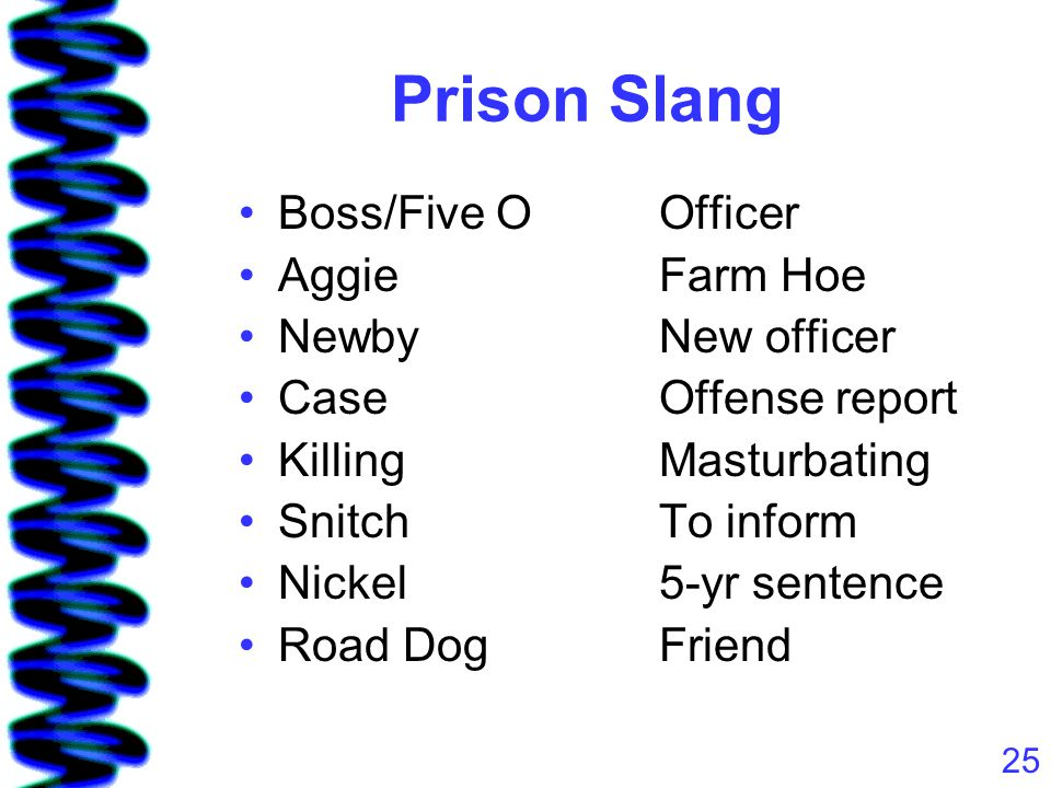 25 Prison Slang Boss/Five OOfficer AggieFarm Hoe NewbyNew officer CaseOffense report KillingMasturbating SnitchTo inform Nickel5-yr sentence Road DogFriend